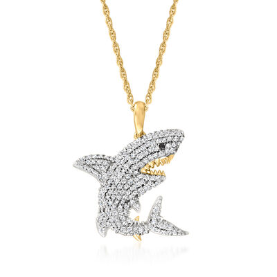.31 ct. t.w. Diamond Shark Pendant Necklace with Black Diamond Accent in 18kt Gold Over Sterling