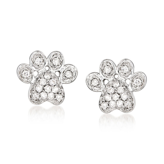 Diamond-Accented Paw Print Earrings in Sterling Silver, , default