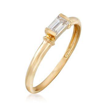.30 Carat Baguette CZ Solitaire Ring in 14kt Yellow Gold, , default