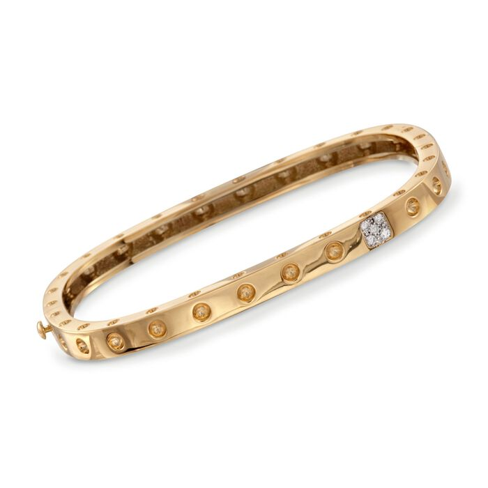 "Roberto Coin ""Pois-Moi"" 18kt Yellow Gold Square Bangle Bracelet with Diamond Accents. 7"""