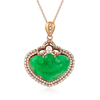 C. 1970 Vintage Jade and .70 ct. t.w. Diamond Heart Pendant Necklace in 18kt and 14kt Rose Gold