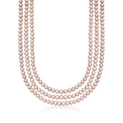 """5-5.5mm Pink Cultured Pearl Endless Necklace. 80"""", , default"""