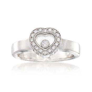C. 2000 Vintage Chopard .17 ct. t.w. Diamond Heart Ring in 18kt White Gold. Size 6, , default