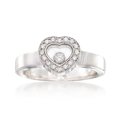C. 2000 Vintage Chopard .17 ct. t.w. Diamond Heart Ring in 18kt White Gold, , default