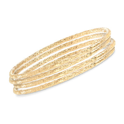 Italian 22kt Gold Over Sterling Jewelry Set: Four Textured Bangle Bracelets, , default