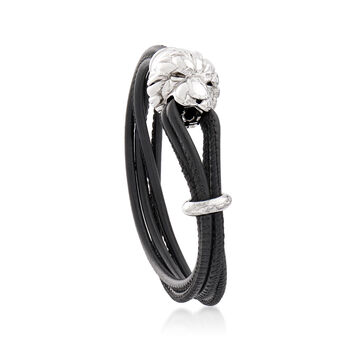 Italian Sterling Silver Lion and Black Leather Bracelet