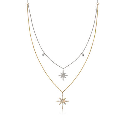 .34 ct. t.w. Diamond Double Star Necklace in 14kt Two-Tone Gold, , default
