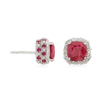 7.95 ct. t.w. Ruby and .10 ct. t.w. White Topaz Stud Earrings in Sterling Silver, , default