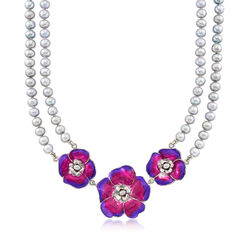Italian 3.5-8mm Cultured Pearl and Enamel Floral Necklace in Sterling Silver, , default
