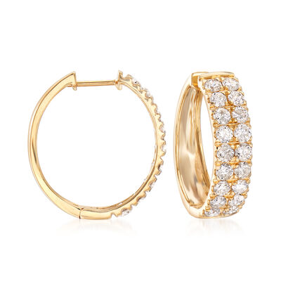 3.00 ct. t.w. Double-Row Diamond Hoop Earrings in 14kt Yellow Gold