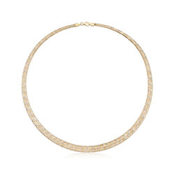 Italian 18kt Two-Tone Gold Graduated Mesh Collar Necklace, , default