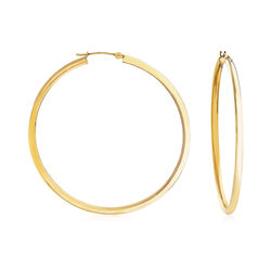 "2.5mm 14kt Yellow Gold Hoop Earrings. 2"", , default"