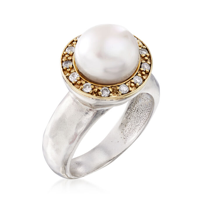 10mm Cultured Pearl and .20 ct. t.w. Diamond Ring in Sterling Silver and 14kt Yellow Gold