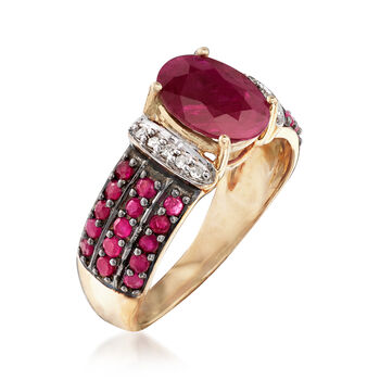 2.80 ct. t.w. Ruby Ring with Diamond Accents in 14kt Yellow Gold, , default