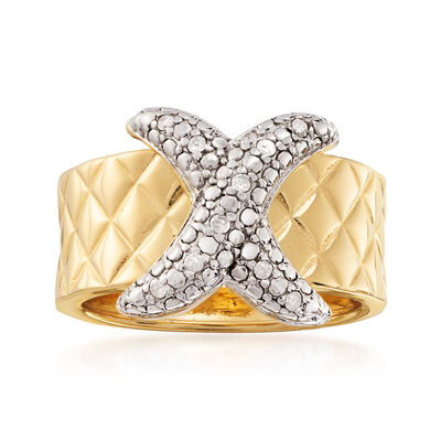 .10 ct. t.w. Diamond X-Motif Ring in 18kt Gold Over Sterling
