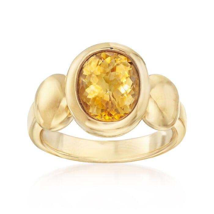 2.50 Carat Citrine Ring in 14kt Yellow Gold, , default