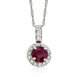 "Ruby and .10 ct. t.w. Diamond Pendant Necklace in 14kt White Gold. 16"", , default"