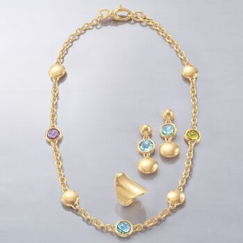 Italian Andiamo 2.60 ct. t.w. Blue Topaz Drop Earring in 14kt Yellow Gold, , default