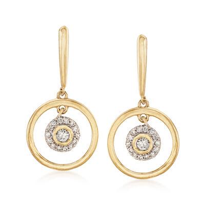 .20 ct. t.w. Diamond Circle Drop Earrings in 14kt Yellow Gold