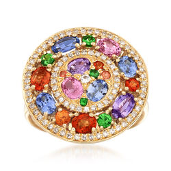 2.42 ct. t.w. Multicolored Sapphire and .28 ct. t.w. Diamond Ring in 18kt Yellow Gold, , default