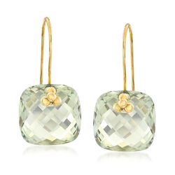 18.00 ct. t.w. Green Prasiolite Drop Earrings in 14kt Yellow Gold, , default