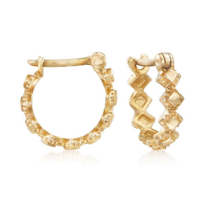"Child's 14kt Yellow Gold Multi-Square Huggie Hoop Earrings. 1/4"", , default"
