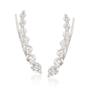 1.90 ct. t.w. Graduated CZ Ear Crawlers in Sterling Silver, , default