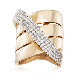 1.05 ct. t.w. Diamond Crisscross Ring in 14kt Yellow Gold, , default