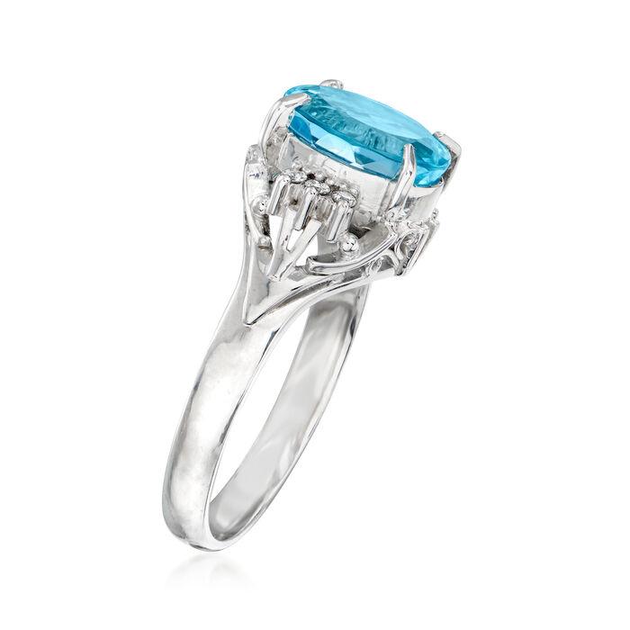 C. 2000 Vintage 2.17 Carat Aquamarine Ring with Diamond Accents in Platinum