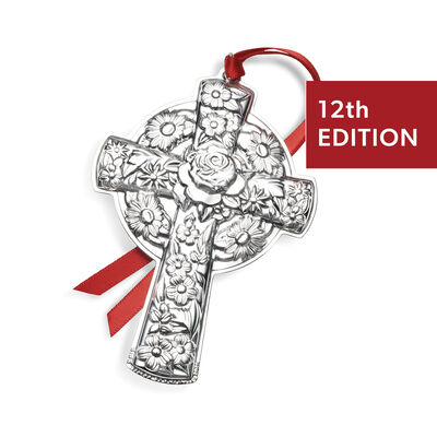 Kirk Stieff 2020 Sterling Silver Repousse Cross Ornament - 12th Edition