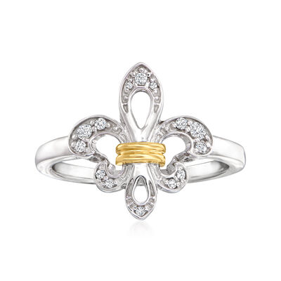 .10 ct. t.w. Diamond Fleur-De-Lis Ring in Sterling Silver and 14kt Yellow Gold