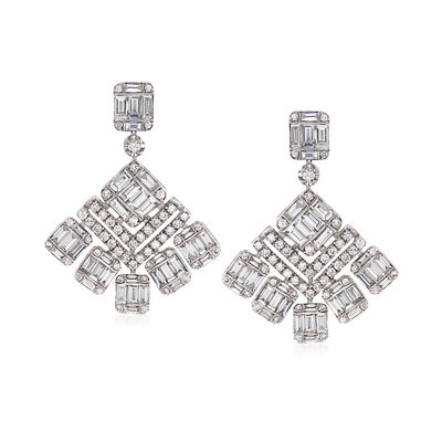 2.57 ct. t.w. Diamond Geometric Drop Earrings in 18kt White Gold, , default