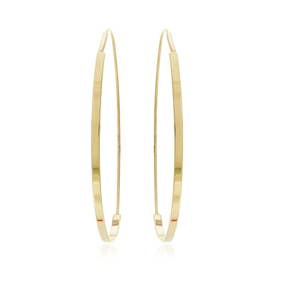 """14kt Yellow Gold Endless Flat-Round Wire Hoop Earrings. 2 1/4"""", , default"""