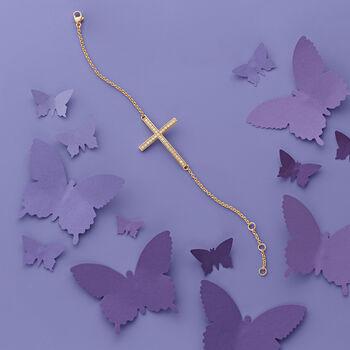 """.50 ct. t.w. Diamond Sideways Cross Bracelet in 14kt Yellow Gold. 7"""", , default"""