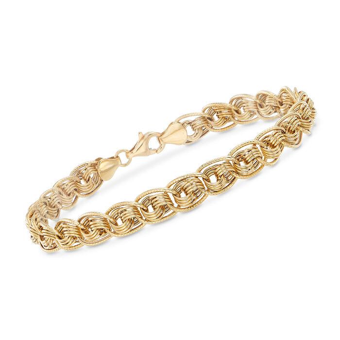 "18kt Yellow Gold Multi-Circle Link Bracelet. 8"", , default"