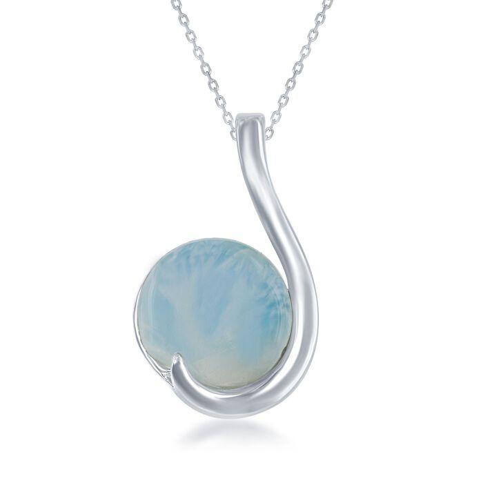 "Larimar Pendant Necklace in Sterling Silver. 18"", , default"