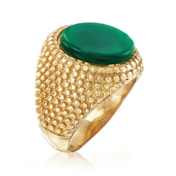 Italian Green Agate Ring in 18kt Gold Over Sterling, , default