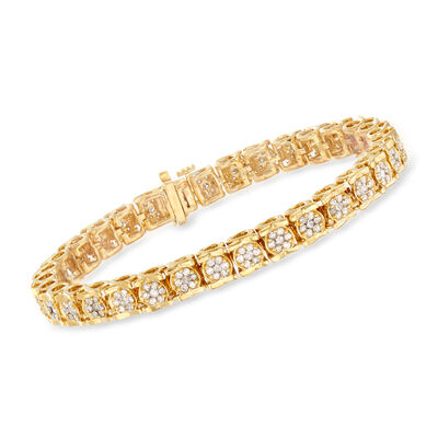 3.00 ct. t.w. Diamond Tennis Bracelet in 18kt Gold Over Sterling