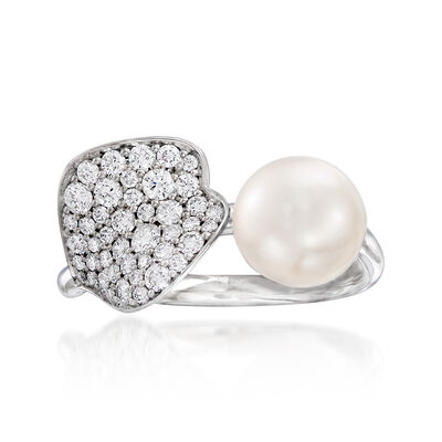 """Mikimoto """"Petal"""" 7.5mm A+ Cultured Akoya Pearl and .46 ct. t.w. Diamond Ring in 18kt White Gold, , default"""