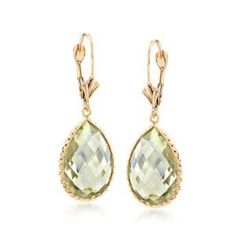 13.00 ct. t.w. Pear-Shaped Green Amethyst Drop Earrings in 14kt Yellow Gold, , default