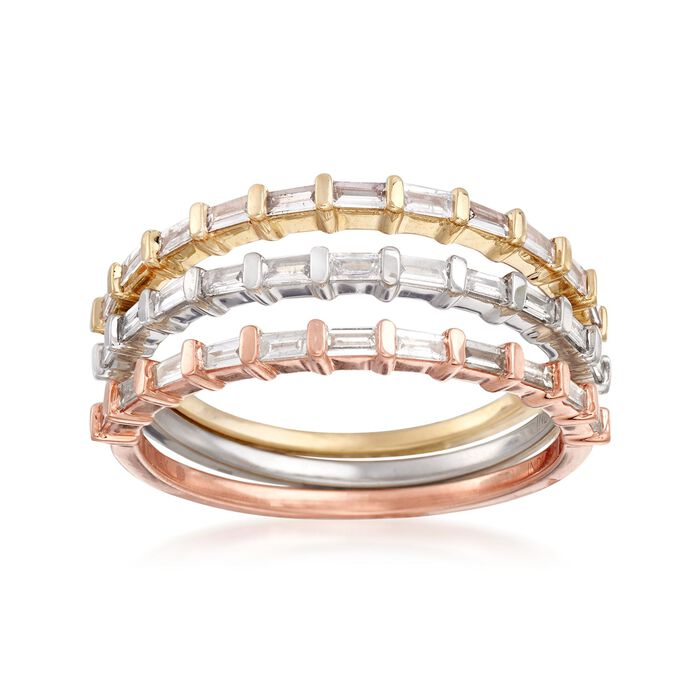 .48 ct. t.w. Baguette Diamond Jewelry Set: Three Rings in 14kt Tri-Colored Gold
