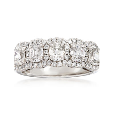 Henri Daussi 1.92 ct. t.w. Five-Stone Diamond Ring in 18kt White Gold
