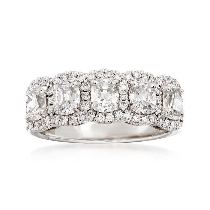 Henri Daussi 1.92 ct. t.w. Five-Stone Diamond Ring in 18kt White Gold