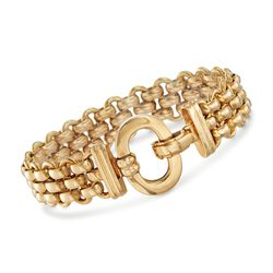 "Italian 18kt Yellow Gold Panther Link Bracelet With Open Oval Clasp. 7.5"", , default"