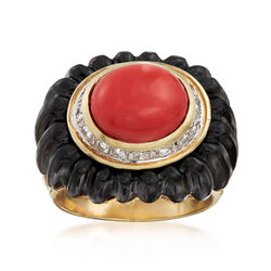 C. 1980 Vintage Orange Coral and Black Onyx Ring With .35 ct. t.w. Diamonds in 14kt Yellow Gold. Size 6.75, , default