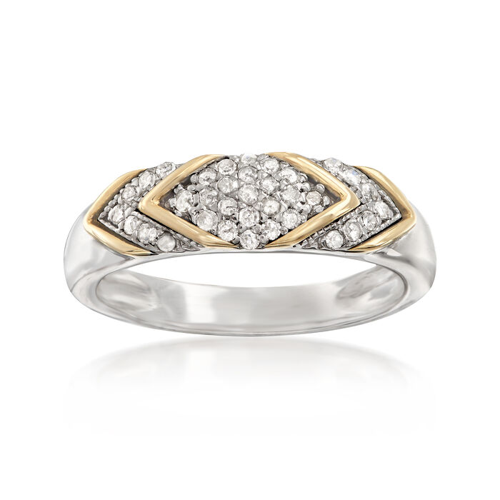 .25 ct. t.w. Diamond Chevron Ring in Sterling Silver and 14kt Yellow Gold