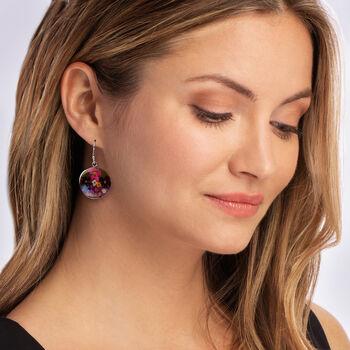 Dried Flower Round Drop Earrings in Sterling Silver, , default