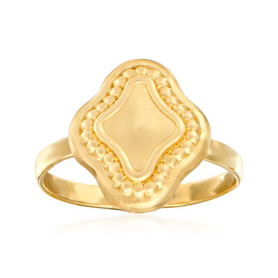 Italian Satin and Polished 14kt Yellow Gold Ring, , default