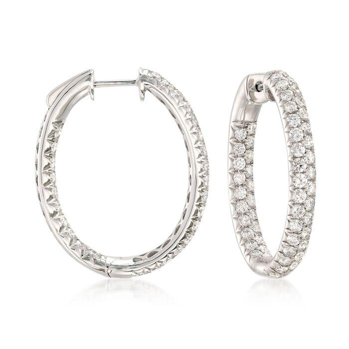 """3.00 ct. t.w. Diamond Inside-Outside Oval Hoop Earrings in 14kt White Gold. 1"""", , default"""