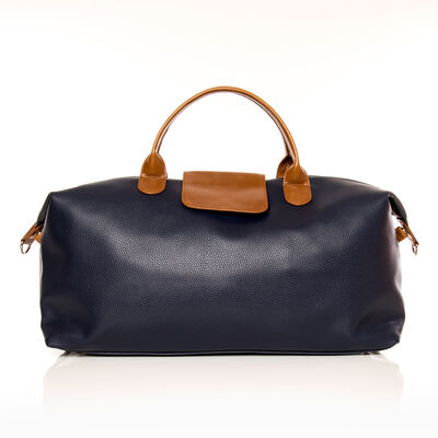 """Brouk & Co. """"Alpha"""" Navy and Brown Faux Leather Duffel Bag, , default"""
